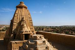 Hindu temple in Kuldhara abandoned village, near Jaisalmer, India (travelingmipo) Tags: travel photo india asia     rajasthan   hotelpleasanthaveli  tour daytrip   village architecture kuldhara abandoned ghostcity    tower dome decoration