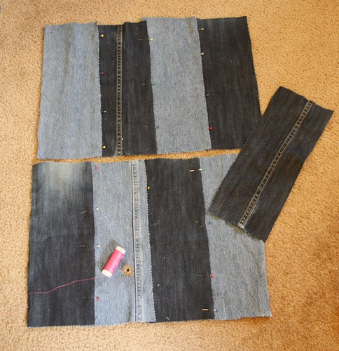denim tote strips pinned