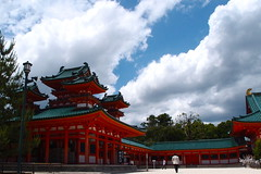 left side of the main building (kmmanaka) Tags: japan kyoto torii heianjingu votivepicture shurine paperfortunes