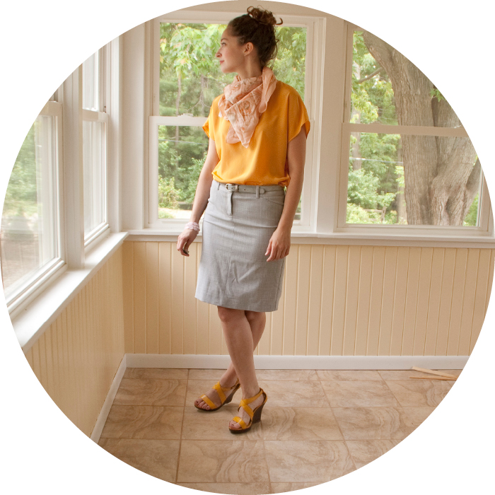 june29 dashdotdotty dash dot dotty fashion blog grellow gray yellow sunshine scarf belted wedges