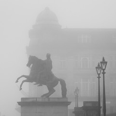 Rider in the mist (Daveybot) Tags: bw horse mist statue misty fog grey edinburgh gray foggy rider haar