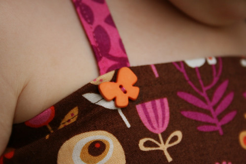 brown flowers dress detail 1