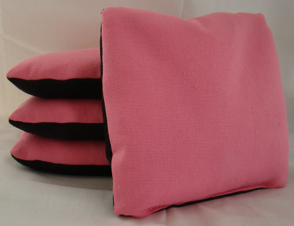 Pink & Black Suede Dual Sided Cornhole Bags
