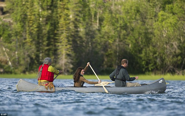 Two Royals in a boat Canoe-dling Kate and William wow Canada's Northwest Territories with their paddling partnership in a kayak  2