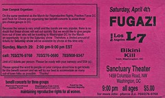 Fugazi / L7 / Bikini Kill (Wires In The Walls) Tags: dc washington wdc bikinikill plannedparenthood flier reproductiverights fugazi l7 positiveforce washingtonfreeclinic sanctuarytheater