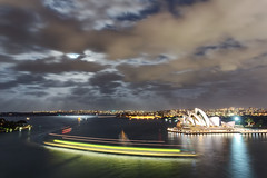 Harbour Traffic - on holidays (Luke Tscharke) Tags: longexposure ferry clouds traffic harbour sydney fullmoon iso operahouse 5d3 5dmarkiii