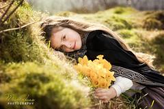 Celtic girl (hmarynka.) Tags: girl fairytale longhair story cloak celtic themed daffodils englandbritain