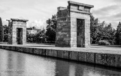 Temple of Debod (ZUCCONY) Tags: madrid bw white black water temple spain 2006 debod pedrozucco httpswwwfacebookcombobbyzuccophotography