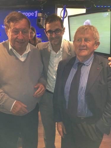 Arash Derambarsh avec Guy Roux et le juge Laurent Davenas. Débat sur le football français et de Courbevoie Sport