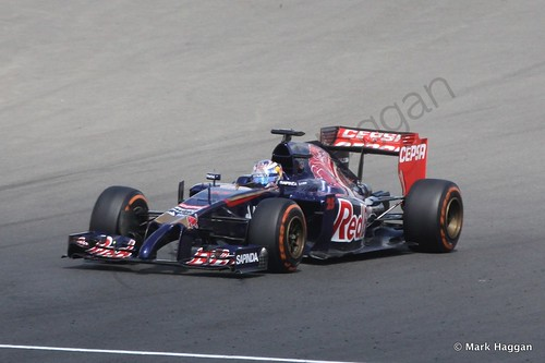 Jean-Eric Vergne in his Toro Rosso in Free Practice 1 at the 2014 British Grand Prix