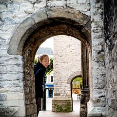 Young woman at the Old Church (glukorizon) Tags: 52weeksof2016 arch boog centrum delft frame framewithinaframe kader nederland oudejan oudekerk portrait portret scheef schuin slanted vrouw woman zuidholland
