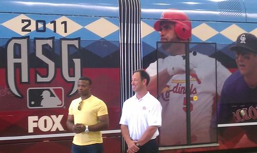 Justin Upon and Luis Gonzalez introducing @dbacks wrap of @metrorail train