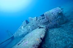 Grumman F6F Hellcat (Saldana Daniel) Tags: ocean blue sea france airplane underwater aircraft wwii deep wideangle scuba wreck saltwater hellcat grumman trimix