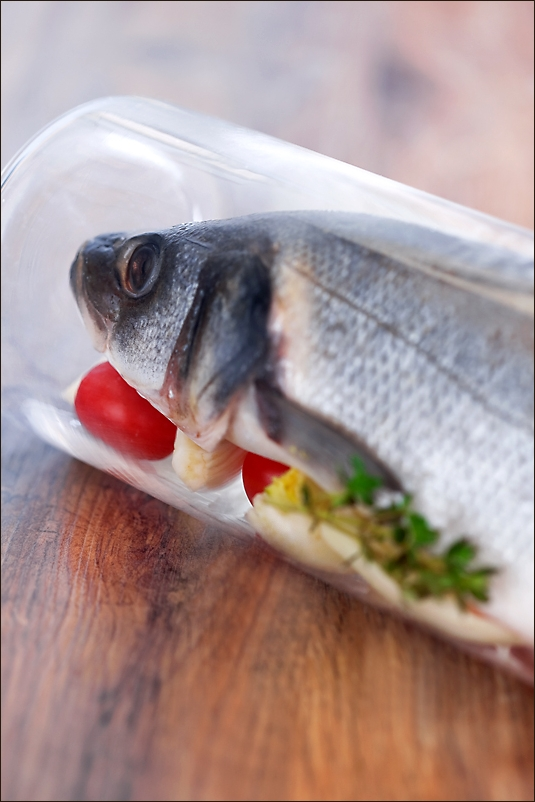Seabass baked in a glass jar