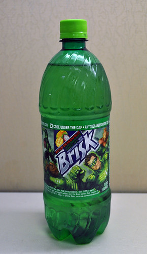 Lipton Brisk: Mango-Dragon Fruit Green Tea with Green Lantern Label