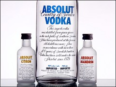 Absolut Sidekicks (Karen_Chappell) Tags: white 3 glass three bottle drink sweden beverage alcohol vodka absolut citron mandrin