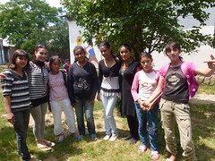 Ferdane (second from left) with her Balkan Sunflowers literacy group