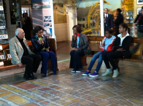 Mrs. Obama at District 6 Museum in Cape Town with a former Robben Island Inmate
