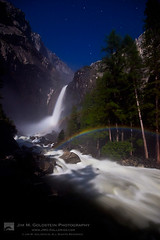 Lunar Rainbow (Moonbow) at Lower Yosemite Falls, Yosemite National Park (jimgoldstein) Tags: california travel trees summer sky cliff usa mist color colour reflection yosemitefalls nature water weather rock night river season stars landscape nationalpark spring rainbow unitedstates flood outdoor seasonal arc nobody rapids erosion valley yosemite refraction granite northamerica destination environment moonlight yosemitenationalpark geology lower sierras cascade lunar lowerfalls attraction stockphoto roygbiv moonbow phenomenon ouside sierranevadamountains 2011 moonlightweather
