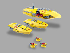 Cathos Eng. Assault Fleet (Titolian) Tags: red yellow army fighter ship lego space military capital armada assault future guns fleet frigate corvette escort
