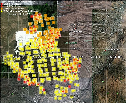 The Las Conchas fire area near Los Alamos on Wednesday morning. Red = new/active burning; yellow is >24 hours. #nmfire