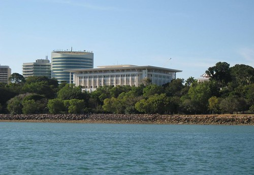 View of NT Parliament House from Darwin Harbour