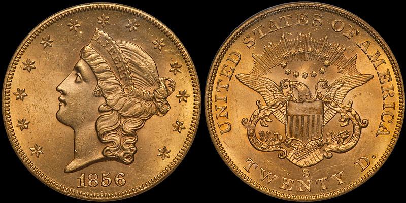 1856-S $20.00 PCGS MS63 CAC