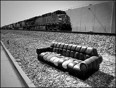 Trackside Sofa Free (greenthumb_38) Tags: california blackandwhite bw usa abandoned blackwhite free couch sofa duotone sofafree orangecounty davenport fullerton chesterfield overstuffed jeffreybass canong11
