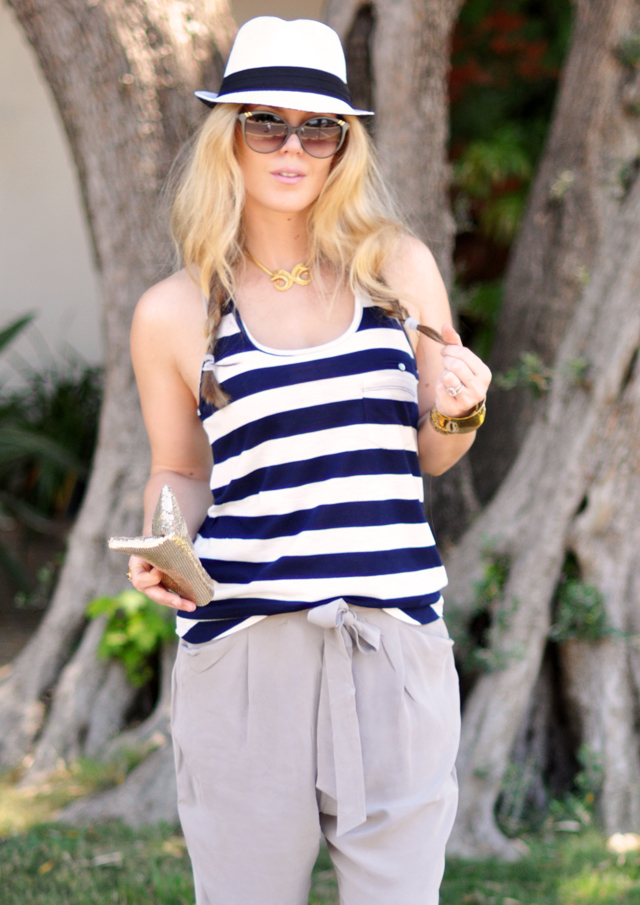 navy and white stripes +  white hat  + gray silk pants + vintage gold accessories