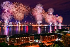 Macy's Fourth of July Fireworks 2011 @ New York City (mudpig) Tags: nyc newyorkcity longexposure ny newyork reflection skyline night geotagged newjersey cityscape fireworks smoke esb fourthofjuly macys hudsonriver empirestatebuilding gothamist independenceday barge hdr mudpig stevekelley stevenkelley