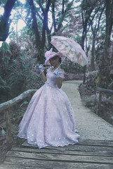Forest Cinderella (JanJanCapili) Tags: park pink portrait woman postprocessed colors girl fashion umbrella photoshop photo glamour women gloomy photoshoot image wildlife violet surreal fantasy portraiture manila dreamy desaturated cinderella wilderness majestic couture quezon ecopark sining kulay emilysoto fashionactions