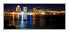 Cooly Nights (Brett Huch Photography) Tags: ocean sunset sea sky seascape reflection beach nature water night reflections surf waves seascapes australia qld queensland aussie coolangatta wavesbreaking