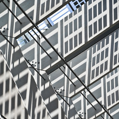 Rotterdam:_with reflections and shadows (estiu87) Tags: sunlight abstract glass sunshine metal reflections arquitectura rotterdam shadows graphic geometry details minimal trainstation ombres stahl reflexes escales myway vidres geometra urbandetails archshot grfic