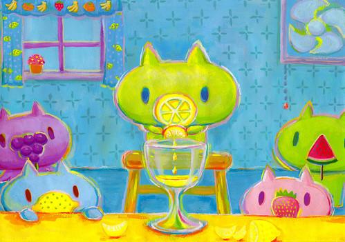 一枚絵_10_レモンノーズ、レモンをしぼる