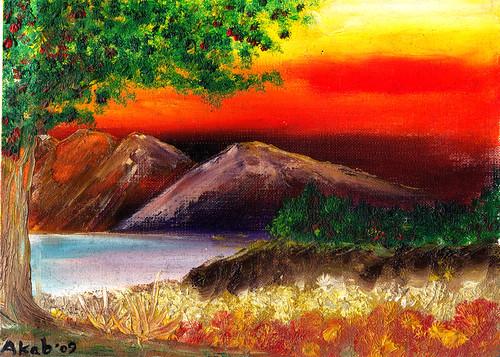 A tree in fiery sky