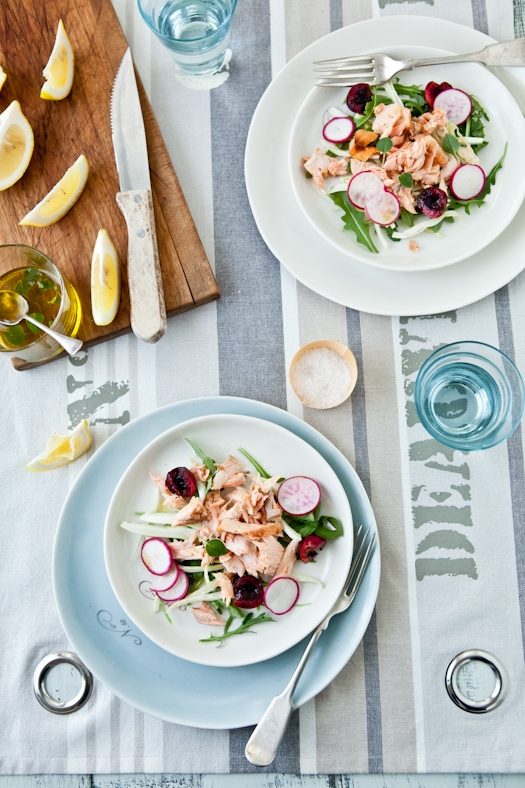 Grilled Salmon, Cherry, Fennel & Radish Salad
