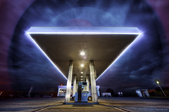 Petrol station & weird halo (Stevacek) Tags: night sigma halo wideangle gasstation scifi 1224mm petrolstation stevacek d700 july2011 robinoil