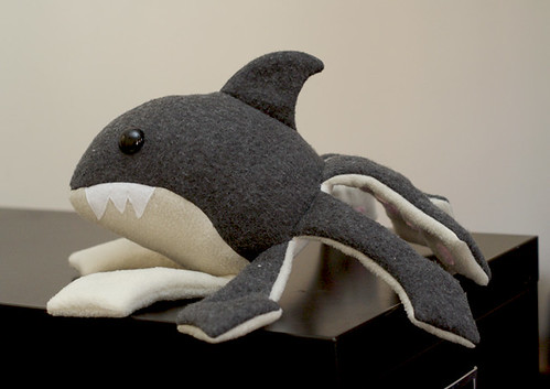 sharktoplush medium - crawing to get a snack