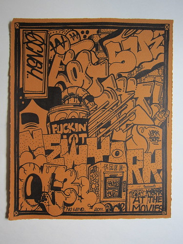 "OVERCONSUME ""At the Movies"" NYC Graffiti Drawing, 2011 by Making Deals Zine"