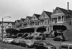 Alamo Square II (rschnaible) Tags: california ca homes ladies bw white house black home architecture square photography san francisco painted victorian monotone alamo