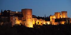 Alhambra at night, Granada (Hammerhead27) Tags: light tower castle wall night dark spain view palace espana alhambra granada