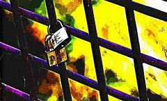 LoveLocks HSS _FotoSketcher_Cartoon (Barrie Wedel) Tags: lovelock lovepadlock tradition symbol bridge railing hss sliderssunday overprocessed fotosketcher cartoon saskatoon saskatchewan canada
