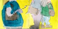 alle trugen sie Handtaschen. Es musste das Paradies sein fr Handtaschendiebe, dachte sie und hielt fester (raumoberbayern) Tags: sketchbook skizzenbuch tram munich mnchen bus strasenbahn herbst winter fall pencil bleistift paper papier robbbilder stadt city landschaft landscape rot red