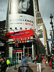 West 33rd St NYC (Robert S. Photography) Tags: street scene nyc autumn people billboard signs subway lamps iphones glass reflection city buildings crowds manhattan canon powershot color elph160 iso200 september 2016