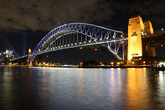 Sydney Harbour Bridge (lukedrich_photography) Tags: australia oz commonwealth        newsouthwales nsw canon t6i canont6i history culture sydney       metro city vivid night light dark longexposure harbour bridge steel arch rail train vehicle bicycle pedestrian transport cbd centralbusinessdistrict northshore view coathanger portjackson bradfiled road highway expressway cahill park overlook skyline viewpoint cityscape water architecture jeffrey street wharf