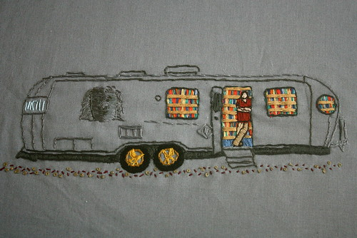 The Night Bookmobile embroidery by crafty mcgee