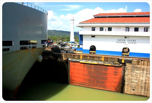 Gatun locks ship close-up