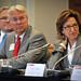 Chancellor Randy Woodson (left) and US Senator Kay Hagan (right) listen.