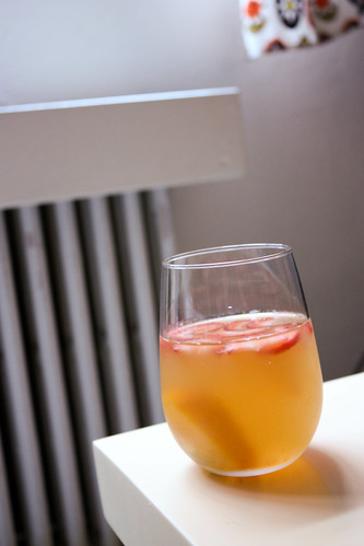 Strawberry Floaters, Peach Sinkers in White Sangria