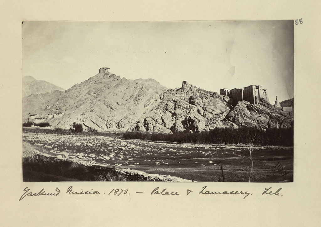 46. 'Palace and monastery, Leh. View looking towards the rocky outcrop on which the palace and monastery stand' (1873)